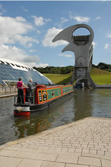 Falkirk Wheel on the Forth and clyde canal in Scotland